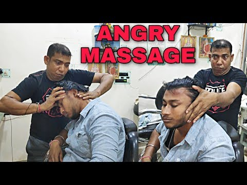 Neck cracking with SWAG   Stress relief Head & body massage therapy by Indian barber   ASMR